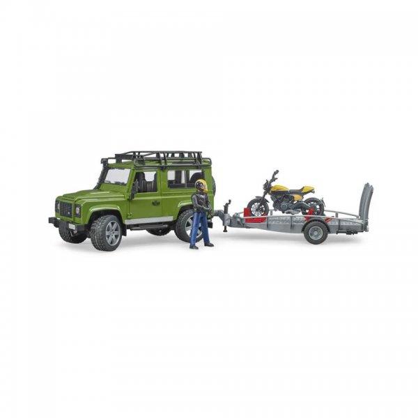 Bruder Land Rover Defender mit Anhänger, Scrambler Ducati Full Throttle und Fahrer