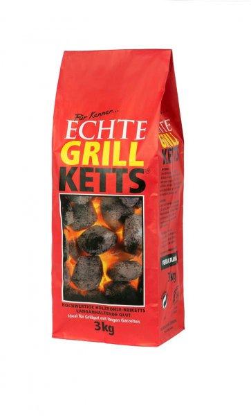 """GrillKetts """"Feuer & Flamme"""" Holzkohle Briketts zum Grillen, 3 kg"""