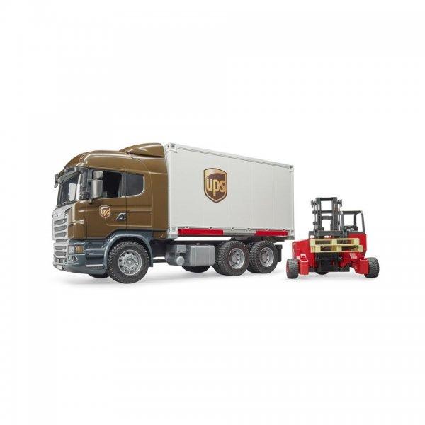 Bruder Scania R-Serie UPS Logistik-LKW mit Mitnahmestapler