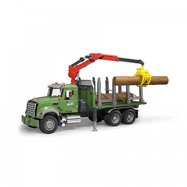 Bruder MACK Granite Holztransport-LKW mit Ladekran, Greifer & 3 Baumstämmen