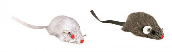 Trixie Plüschmäuse mit Schelle, 5 cm, 2 Stück, weiß/grau