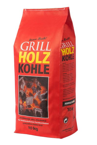 "Grillkohle ""Feuer & Flamme"" Holzkohle zum Grillen, 10 kg"