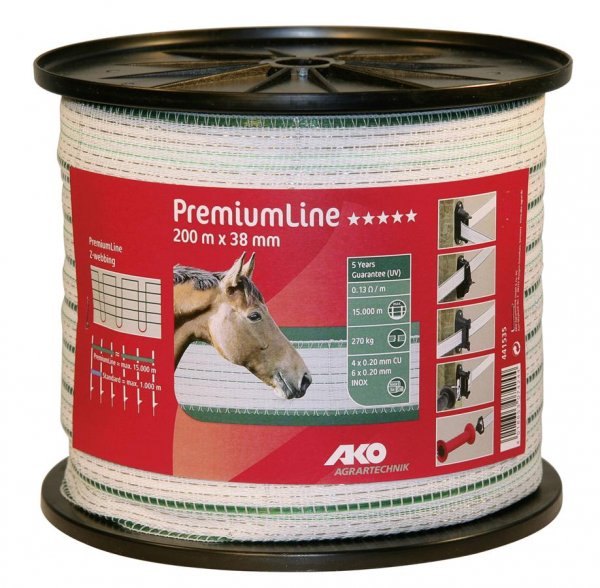 Kerbl Band Premium Line weiß/grün 38 mm, 200 m