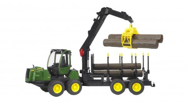 Bruder John Deere Rückezug 1210E mit 4 Baumstämmen und Holzgreifer
