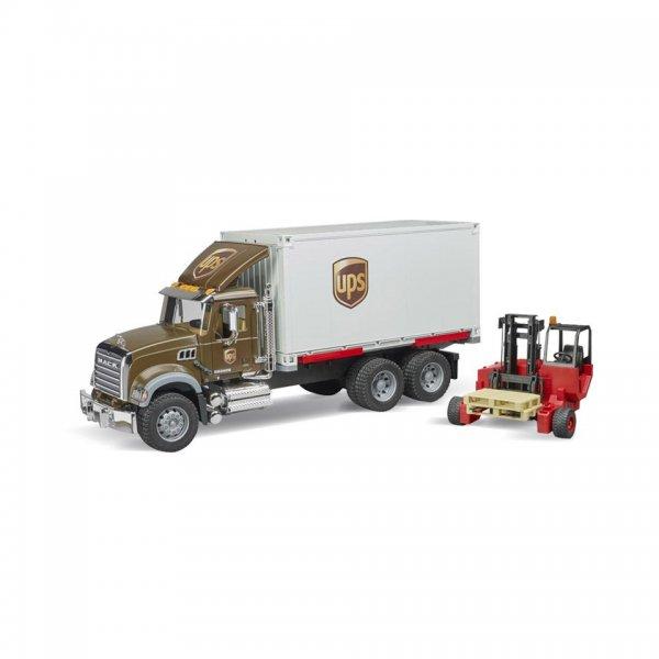 Bruder MACK Granite UPS Logistik-LKW mit Mitnahmestapler