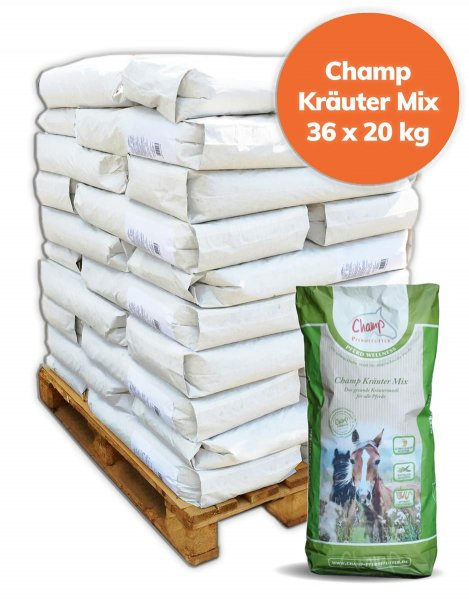 Palette Champ Kräutermix für Pferde, ohne Hafer 720 kg, 36x 20 kg