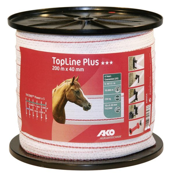 Kerbl Band TopLine Plus 10x 30 mm weiß/rot, 200 m