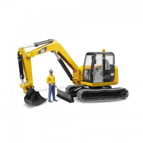 Bruder Caterpillar CAT Minibagger mit Bauarbeiter