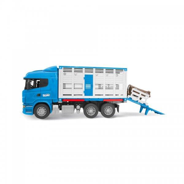 Bruder Scania R-Serie Tiertransport-LKW mit Rind