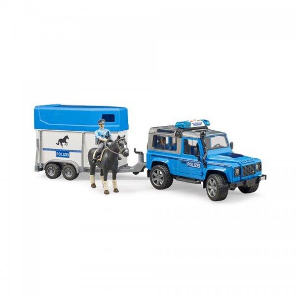 Bruder Land Rover Defender Polizeifahrzeug, Pferdeanhänger, Pferd und Polizist