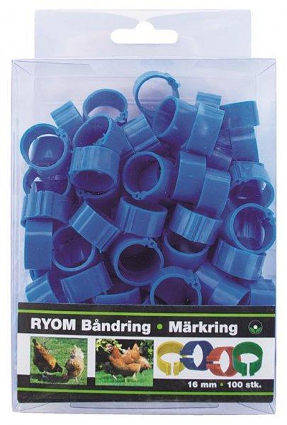 Ryom Bandringe Kunststoff blau 16 mm, 100 St.