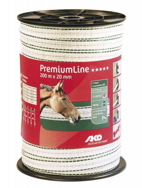 Kerbl Band Premium Line weiß/grün 20 mm, 200 m